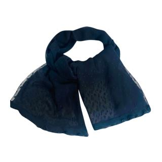 Dior Black Dotted Tulle Sheer Chiffon Scarf
