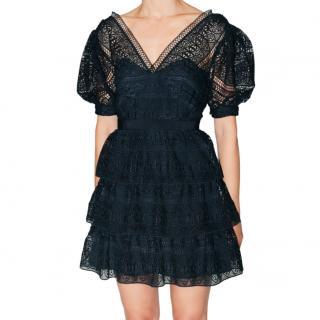 Self Portrait navy guipure lace puff sleeve mini dress