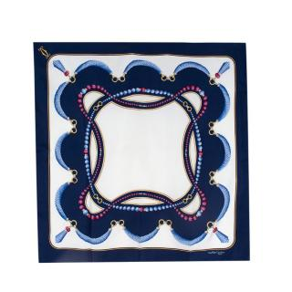 Cartier Must De Cartier Navy & White Silk Printed Scarf