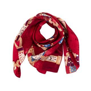 Cartier Red Silk Must De Cartier Watch Print Scarf