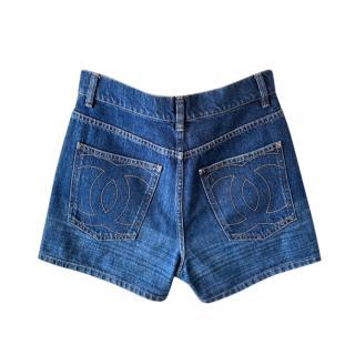 Giant CC Logo Embroidered Denim High Waist Shorts