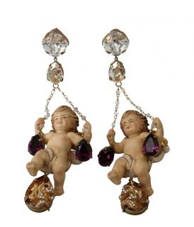 Dolce & Gabbana Crystal Swinging Cherub Earrings