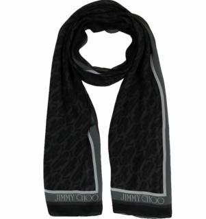 Jimmy Choo Black/Grey Logo Print Silk Scarf
