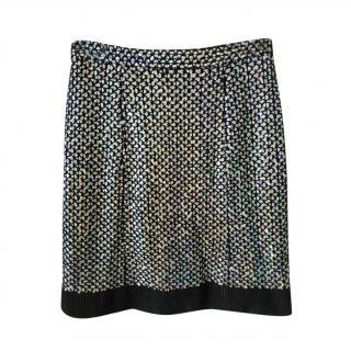 Chanel Paris/Shanghai Sequin Embellished Tweed Skirt