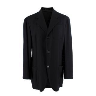 Gianfranco Ferre Black Lightweight Woven Silk Blend Blazer