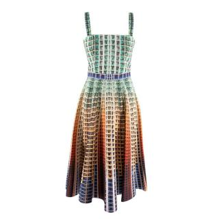 Mary Katrantzou Gradient Apartment Block Print Sun Dress