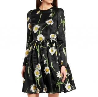 DOLCE & GABBANA Daisy-print silk-organza mini dress