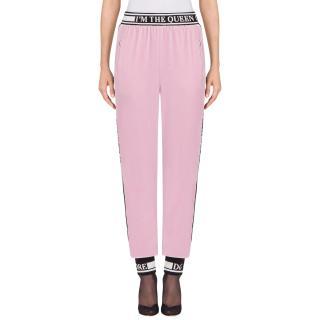 Dolce & Gabbana Devotion Pink Velvet Joggers