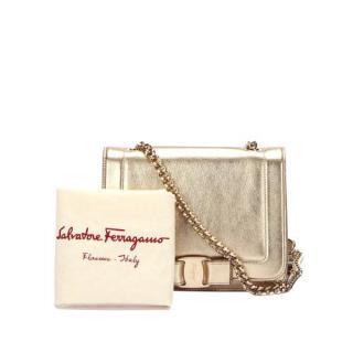 Ferragamo Gold Metallic Vara Crossbody Bag