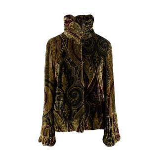 Etro paisley velvet ruched high neck jacket