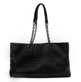 Bottega Veneta Black Intrecciato Leather Shoulder Bag