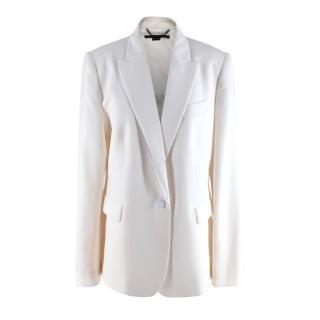 Stella McCartney White Tailored Wool Blazer with Silk Trim