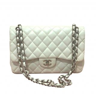Chanel White Lambskin Jumbo Double Flap Bag