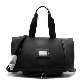 Balenciaga Black Leather Foldover Messenger Bag