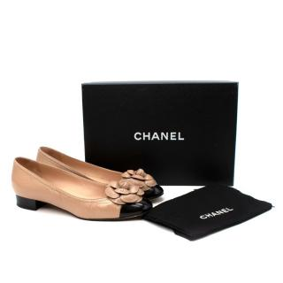 Chanel Beige Leather Camellia Cap-Toe Ballerinas