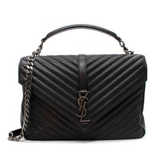 Saint Laurent College Large Quilted Textured-leather Shoulder Bag