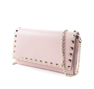 Valentino Pale Pink Rockstud Wallet on Chain