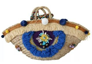Dolce & Gabbana Embroidered Pom Pom Raffia Tote Bag