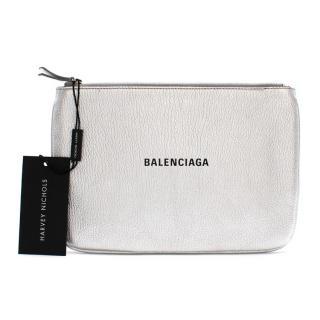 Balenciaga Silver Metallic Everyday Medium Pouch