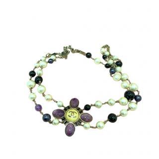 Chanel Gold Tone Faux Pearl Purple Beaded Belt/Necklace