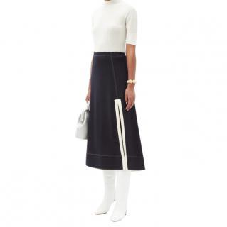 Jil Sander Side-Slit A-Line Wool Midi Skirt