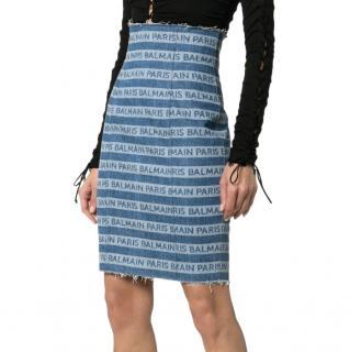 Balmain Logo zip-front denim skirt