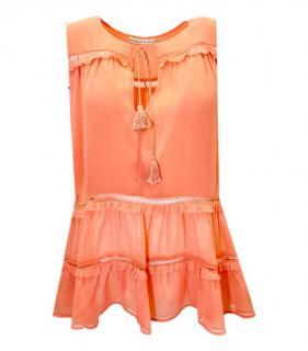 Alice & Olivia Orange Sleeveless Top