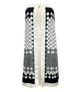 Jonathan Saunders Ivory Printed Silk Strapless Dress