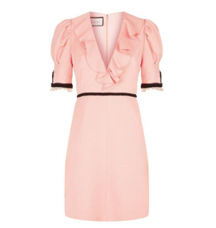 Gucci Pink Silk & Wool Ruffle V Neck Mini Dress