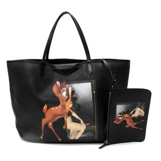 Givenchy Black Leather Bambi Antigona Large Tote Bag