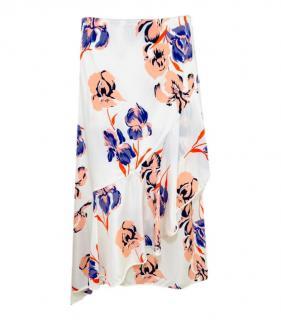 Diane Von Furstenberg Silk Floral Print Ruffle Skirt