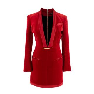 Balmain Red Deep V-neck Velvet Mini Dress