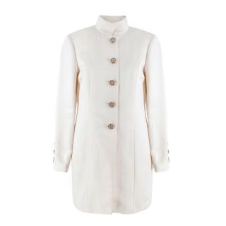 Chanel Crystal Button Cream Silk Stand Collar Jacket