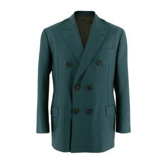 Prada Pinstripe Forest Green Double Breasted Blazer