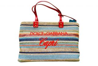 Dolce & gabbana Striped Raffia Capri Beach Tote