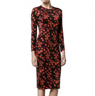 Givenchy Black & Red Blurred Floral Print LS Shift Dress