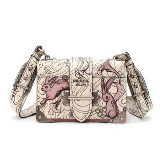 Prada Glace Calfskin Rabbit Print Cahier Bag Opaline