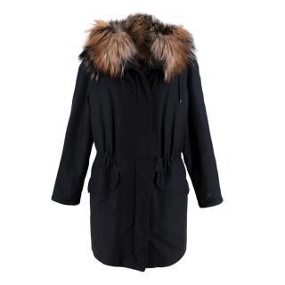 Yves Salomon Army Black Fur Lined Hooded Parka