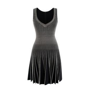 Alaia Black & Cream Woven Knit V-Neck Skater Dress