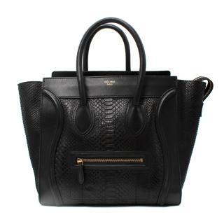 Celine Black Python & Leather Mini Luggage Tote