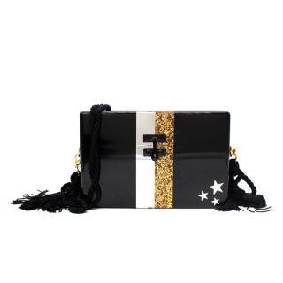Edie Parker Black Small Trunk Stars Acrylic Bag