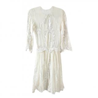 Dolce & Gabbana Cream embroidered silk dress