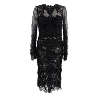 Dolce & Gabbana Black Dotted Tulle & Lace Ruched Dress