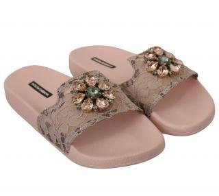 Dolce & Gabbana Pink Lace Crystal Embellished Slides