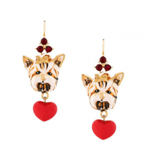 Dolce & Gabbana Yorkie Heart Drop Earrings