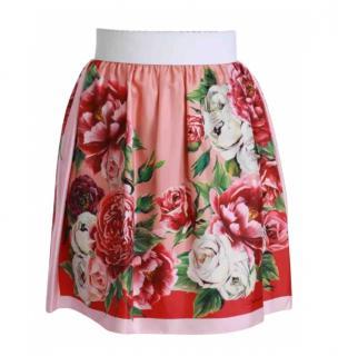 Dolce & Gabbana Pink Floral Print High Waist Skirt