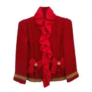 Dolce & Gabbana Red Frilled Tweed Jacket