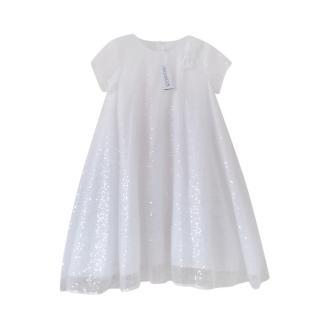 Simonetta White Sequin Embellished Girls 10Y Dress