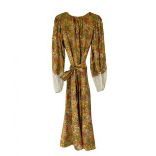 Tory Burch yellow floral print belted silk dress