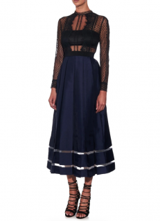 Self Portrait Sheer Lace & Box-Pleated Midi Dress